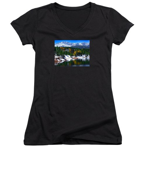 Snow Capped Pikes Peak At Crystal  Women's V-Neck T-Shirt