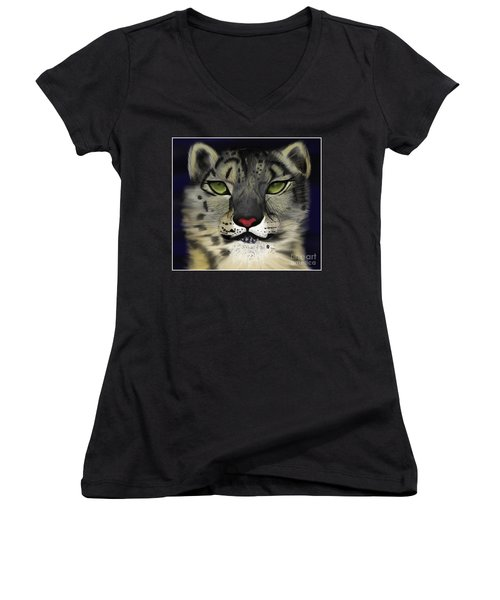 Snow Leopard - The Eyes Have It Women's V-Neck (Athletic Fit)