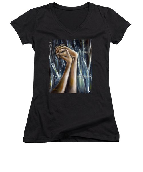 Women's V-Neck T-Shirt (Junior Cut) featuring the painting Snow Light by Hiroko Sakai