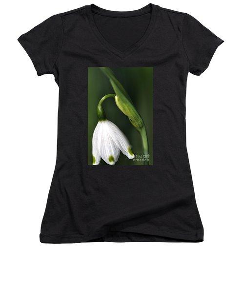 Women's V-Neck T-Shirt (Junior Cut) featuring the photograph Snowdrop by Joy Watson