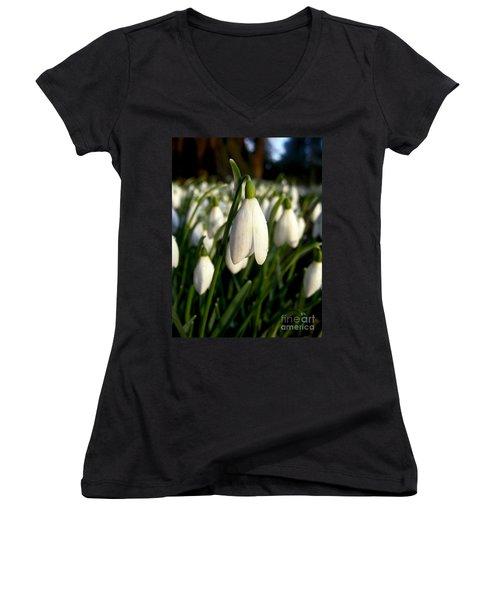 Women's V-Neck T-Shirt (Junior Cut) featuring the photograph Snowdrops by Nina Ficur Feenan