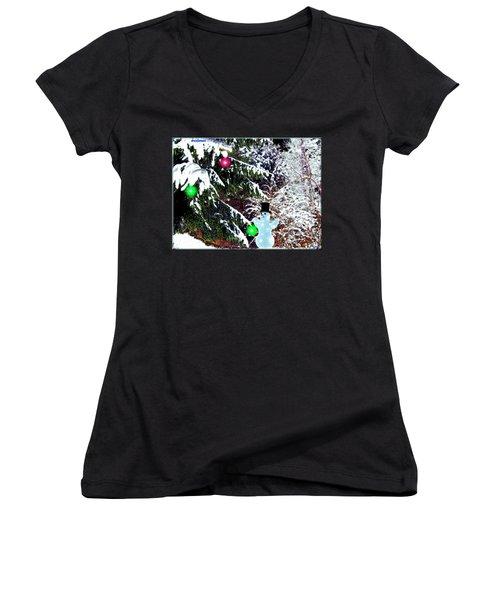 Women's V-Neck T-Shirt (Junior Cut) featuring the digital art Snowman by Daniel Janda