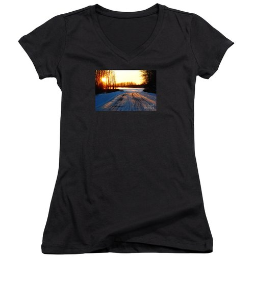 Women's V-Neck T-Shirt (Junior Cut) featuring the photograph Snowy Anchorage Sunset by Cynthia Lagoudakis