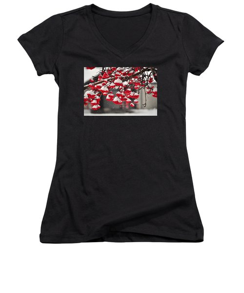 Women's V-Neck T-Shirt (Junior Cut) featuring the photograph Snowy Mountain Ash Berries by Fran Riley