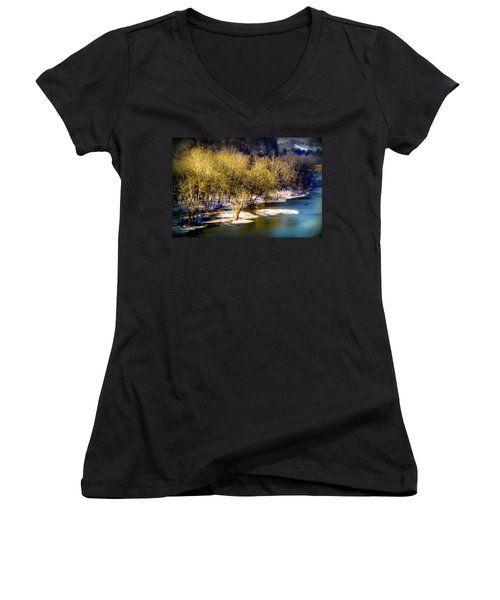 Snowy River Women's V-Neck T-Shirt (Junior Cut) by Karen Wiles