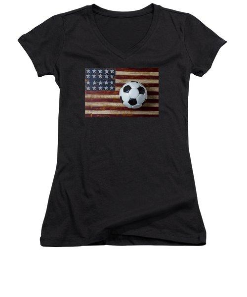 Soccer Ball And Stars And Stripes Women's V-Neck
