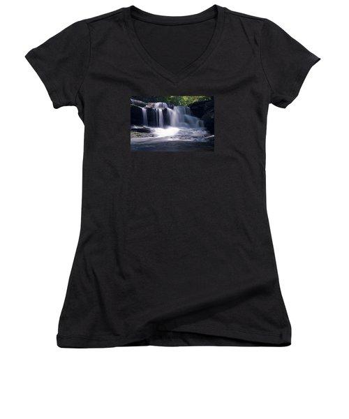 Soft Light Dunloup Falls Women's V-Neck T-Shirt (Junior Cut) by Shelly Gunderson
