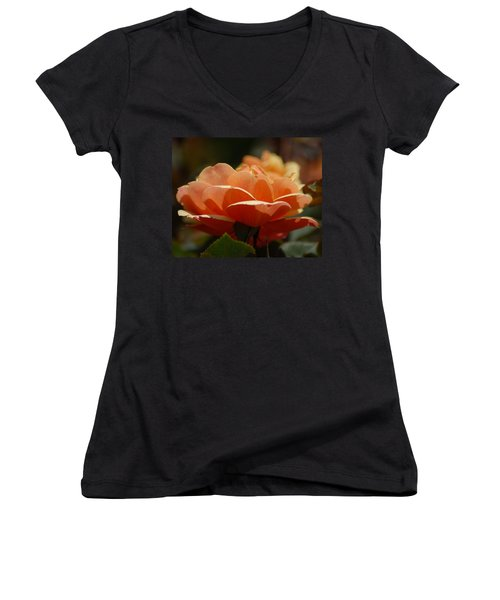 Women's V-Neck T-Shirt (Junior Cut) featuring the photograph Soft Orange Flower by Matt Harang