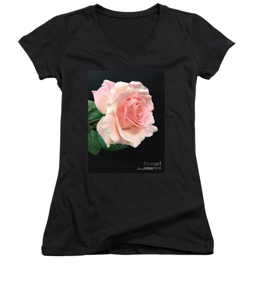 Women's V-Neck T-Shirt (Junior Cut) featuring the photograph Soft Pink Rose 1 by Jeannie Rhode