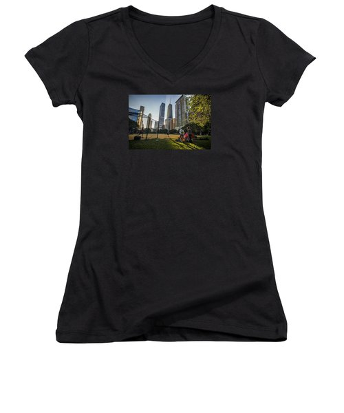 Softball By Skyscrapers Women's V-Neck (Athletic Fit)
