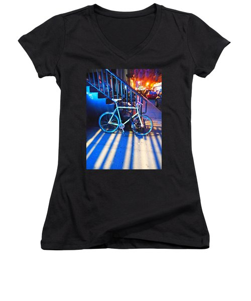 Women's V-Neck T-Shirt (Junior Cut) featuring the photograph Soho Bicycle  by Joan Reese