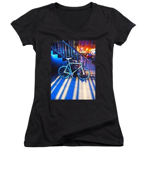 Soho Bicycle  Women's V-Neck T-Shirt (Junior Cut) by Joan Reese