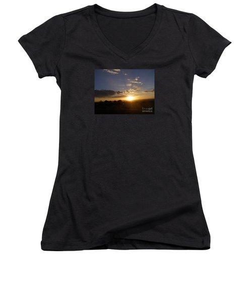 Solar Eclipse Sunset Women's V-Neck T-Shirt