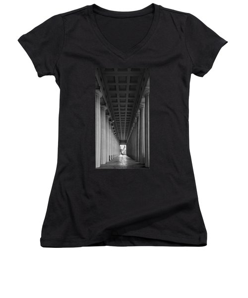 Soldier Field Colonnade Chicago B W B W Women's V-Neck T-Shirt
