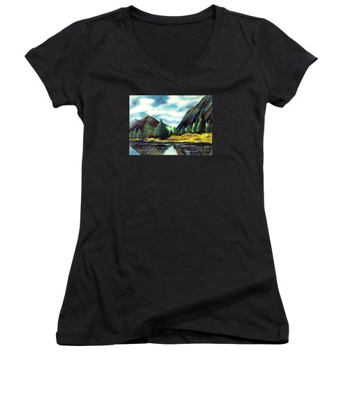 Women's V-Neck T-Shirt (Junior Cut) featuring the painting Solitude by Patricia Griffin Brett
