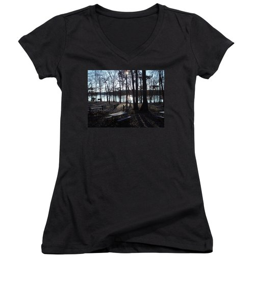 Women's V-Neck T-Shirt (Junior Cut) featuring the photograph Solitude by Fortunate Findings Shirley Dickerson