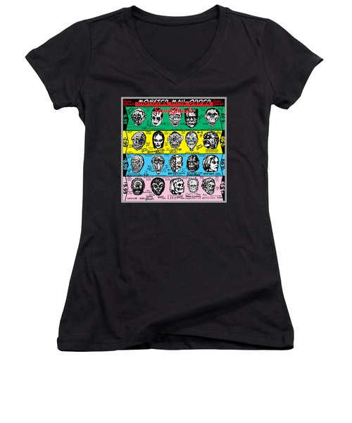 Women's V-Neck T-Shirt (Junior Cut) featuring the digital art Some Ghouls by Sasha Alexandre Keen