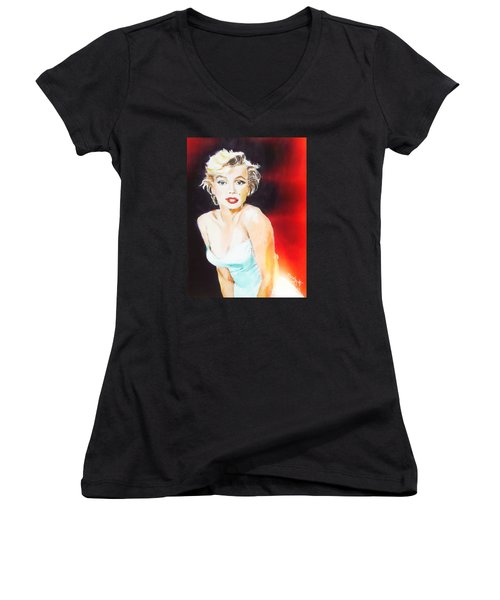 Women's V-Neck T-Shirt (Junior Cut) featuring the painting Some Like It Red Hot by Judy Kay