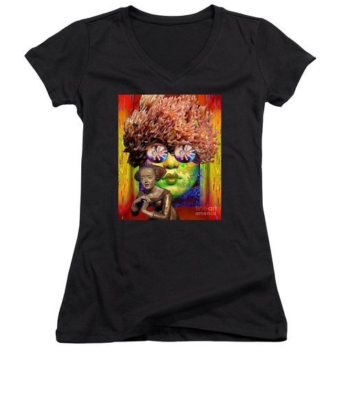 Solar  Awakening Women's V-Neck T-Shirt (Junior Cut) by Joseph Mosley