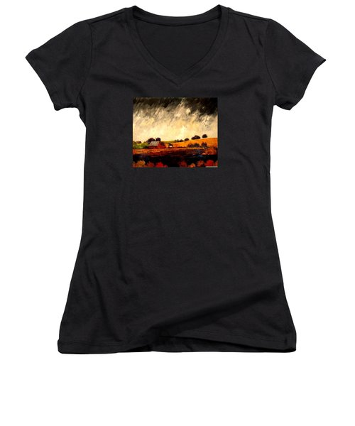 Women's V-Neck T-Shirt (Junior Cut) featuring the painting Somewhere Else by William Renzulli