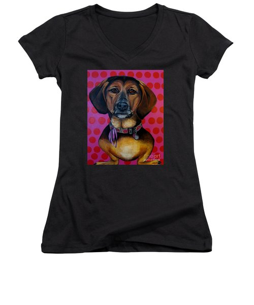 Sophia - My Rescue Dog  Women's V-Neck (Athletic Fit)