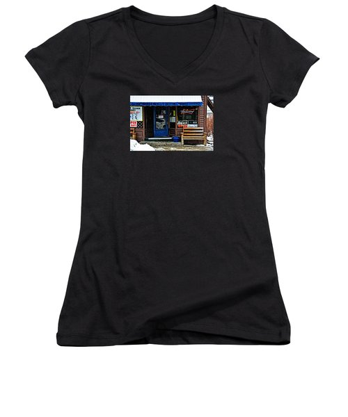Sorry We're Open Women's V-Neck T-Shirt (Junior Cut) by Mike Martin