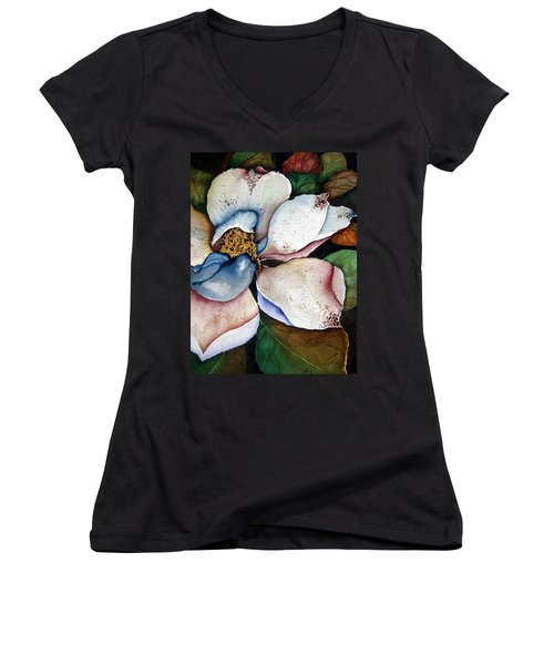White Glory Women's V-Neck T-Shirt (Junior Cut) by Lil Taylor