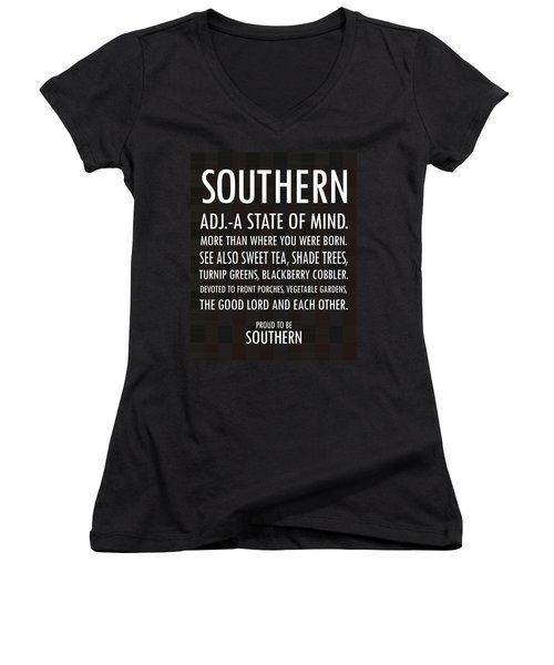 Southern State Of Mind Black And White Women's V-Neck T-Shirt (Junior Cut) by Debbie Karnes