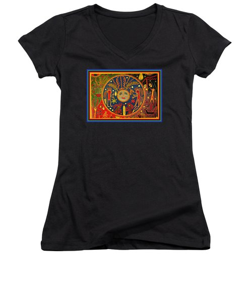 Women's V-Neck T-Shirt (Junior Cut) featuring the digital art Southwest Huichol Del Sol by Vagabond Folk Art - Virginia Vivier
