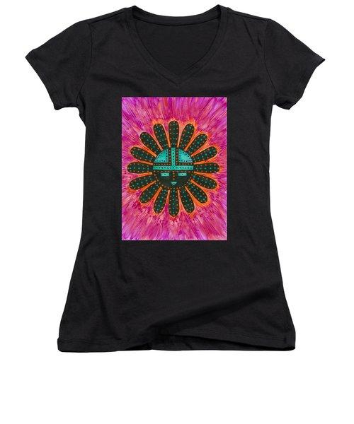Women's V-Neck T-Shirt (Junior Cut) featuring the painting Southwest Sunburst Sunface by Susie Weber