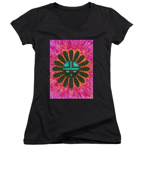 Southwest Sunburst Sunface Women's V-Neck T-Shirt