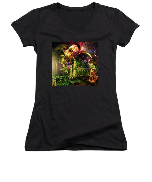 Women's V-Neck T-Shirt (Junior Cut) featuring the mixed media Space Garden by Ally  White