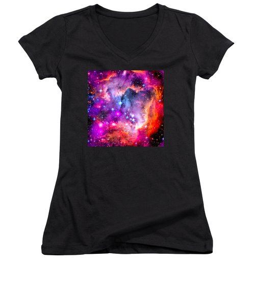 Space Image Small Magellanic Cloud Smc Galaxy Women's V-Neck (Athletic Fit)