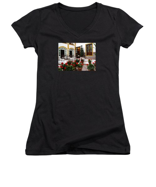 Women's V-Neck T-Shirt (Junior Cut) featuring the photograph Spain by Haleh Mahbod