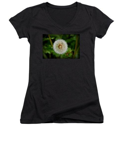 Women's V-Neck T-Shirt (Junior Cut) featuring the photograph Sparkling Dandelion by Debra Martz