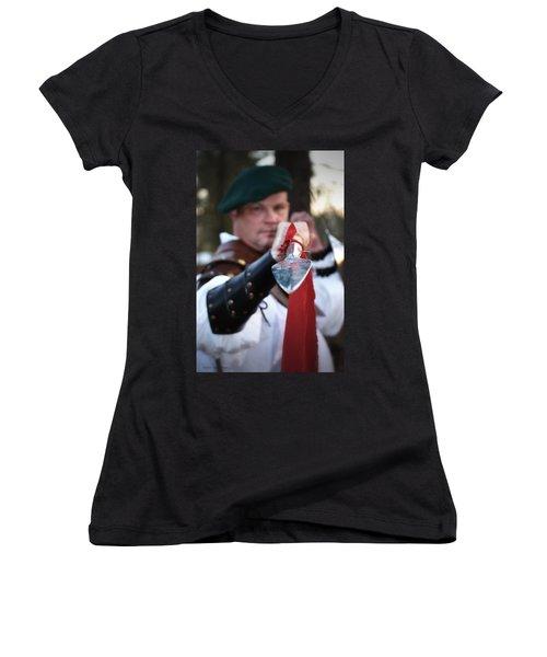 Spear Of The Scot Women's V-Neck T-Shirt (Junior Cut) by Tara Potts
