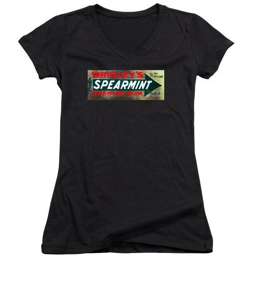 Spearmint Gum Sign Vintage Women's V-Neck T-Shirt (Junior Cut) by Saundra Myles