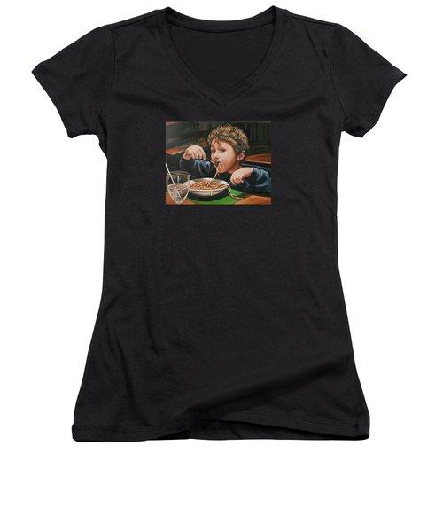 Women's V-Neck T-Shirt (Junior Cut) featuring the painting Spaghetti Boy by Melinda Saminski