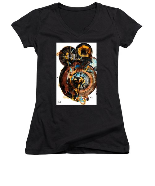 Spherical Happiness Series - 994.042212 Women's V-Neck T-Shirt (Junior Cut) by Kris Haas