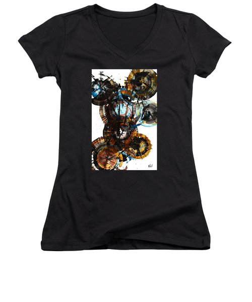 Women's V-Neck T-Shirt (Junior Cut) featuring the painting Spherical Joy Series - 995.042212 by Kris Haas