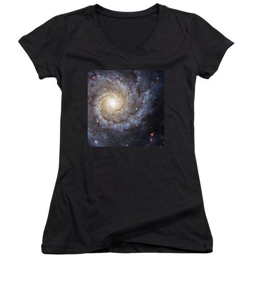 Spiral Galaxy M74 Women's V-Neck T-Shirt (Junior Cut) by Adam Romanowicz