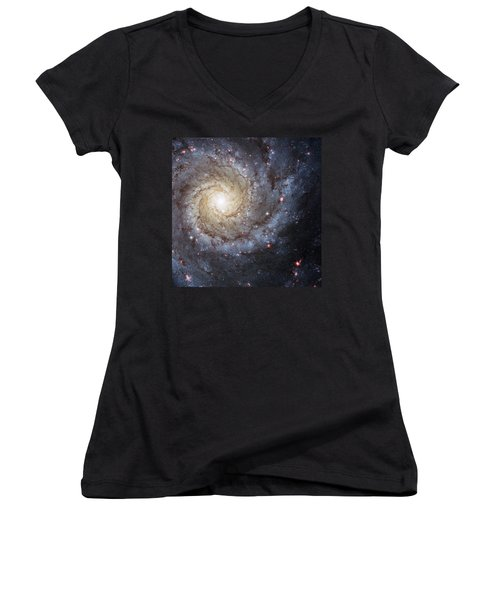 Spiral Galaxy M74 Women's V-Neck (Athletic Fit)
