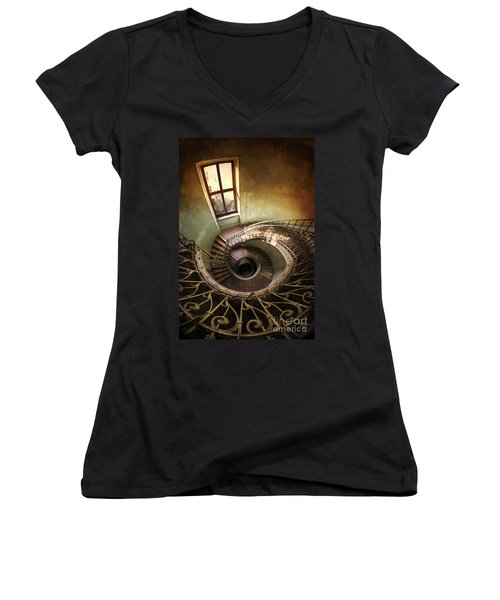 Spiral Staircaise With A Window Women's V-Neck
