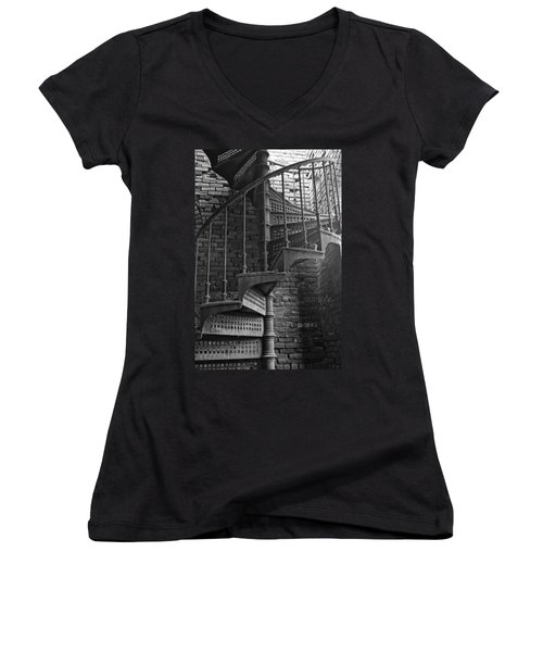 Spiral Staircase In B And W Women's V-Neck