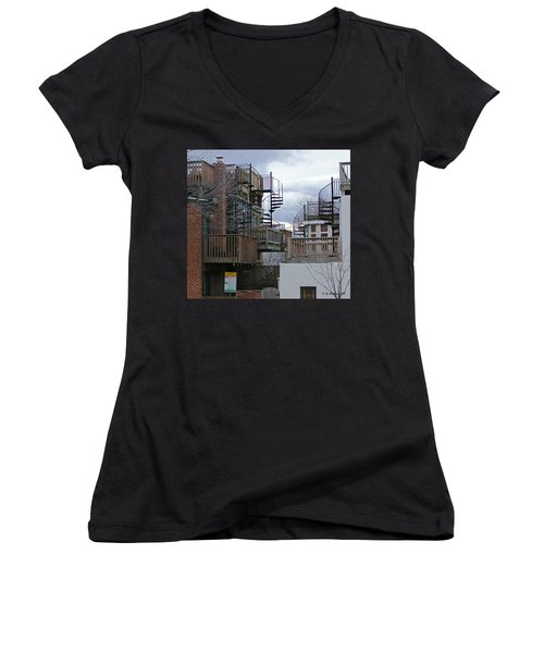 Women's V-Neck T-Shirt (Junior Cut) featuring the photograph Spiral Stairs by Brian Wallace