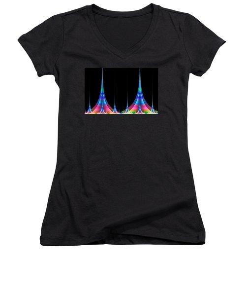 Women's V-Neck T-Shirt (Junior Cut) featuring the digital art Spires by GJ Blackman