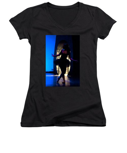 Spirit Of Dance 3 - A Backlighting Of A Ballet Dancer Women's V-Neck (Athletic Fit)