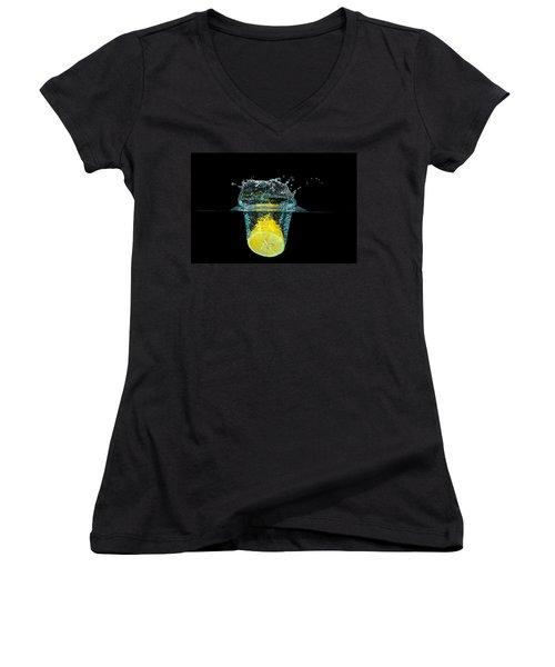 Splashing Lemon Women's V-Neck T-Shirt (Junior Cut) by Peter Lakomy