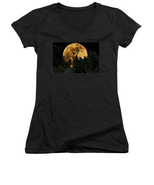 Spooky Road Women's V-Neck (Athletic Fit)