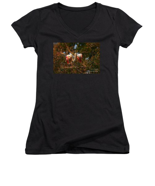 Women's V-Neck T-Shirt (Junior Cut) featuring the photograph Spoonbill Love Nest by John F Tsumas